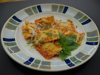 Ravioli with ricotta in tomato sauce