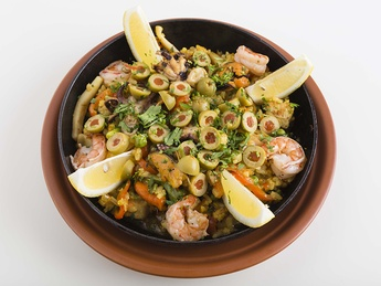 Paella with rice