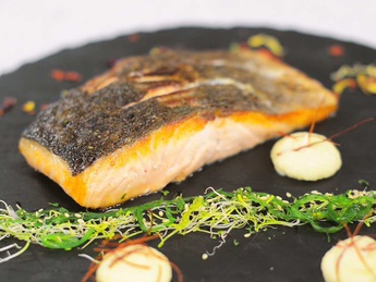 Salmon roasted in cocoa butter