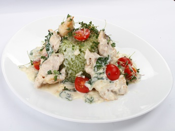 Chicken fillet with basil sauce