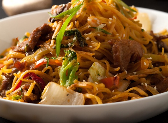 Noodles with pork tenderloin