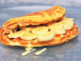 Waffles with condensed milk and banana