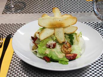 Salad with tiger shrimps