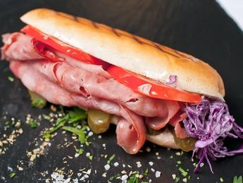 Hot dog with ham