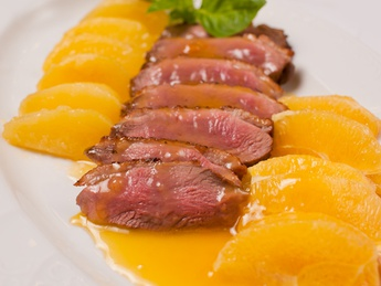 Duck breast in orange sauce