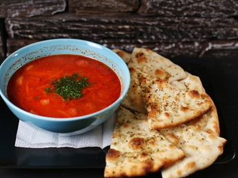 Tomato soup with smoked meat