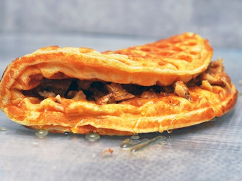 Waffles with honey and nuts