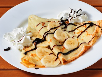 Pancake with caramel and banana