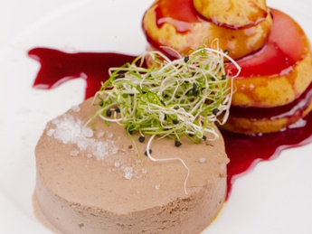 Chicken liver pate with caramelized pear