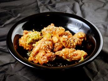 Fried chicken in tempura batter with Teriyaki sauce
