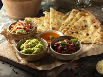Assorted appetizers with focaccia