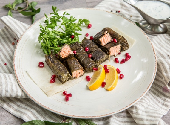 Salmon roasted in grape leaves