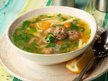 Wedding Italian soup with meatballs