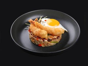 Japanese rice with tempura shrimp