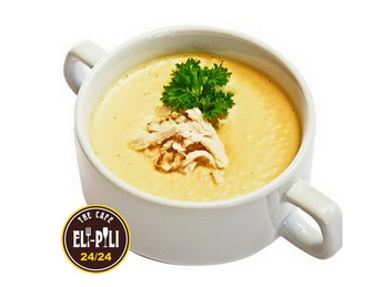 Chicken soup-cream with croutons