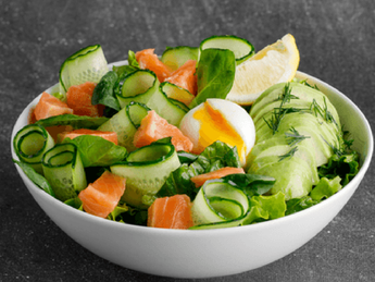 Bowl with salmon and avocado