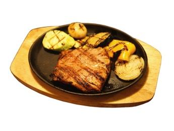 Grilled pork tenderloin steak