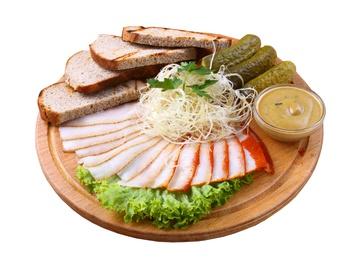 Sliced lard with pickles