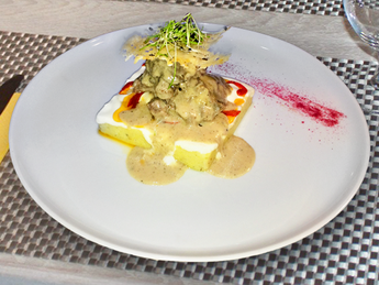 Polenta with veal confit