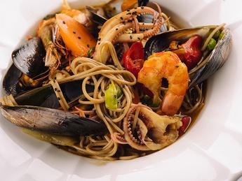 Soba buckwheat noodles  with seafood