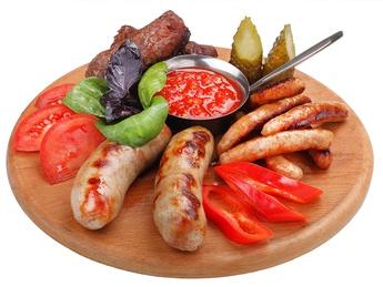Grilled sausages platter