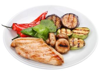Chicken steak with grilled veggies