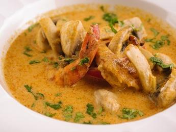 Thai soup Tom Yum with prawns