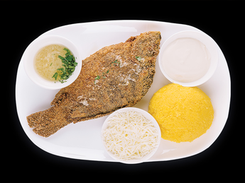 Fried Carp with mamaliga and Garlic Sauce (by weight 100gr)