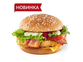 Chicken burger with bacon