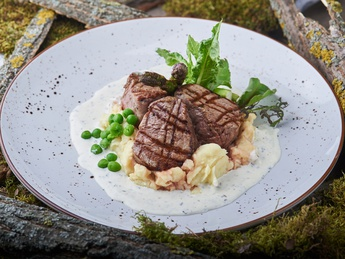 Veal medallions in creamy sauce