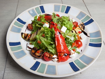 Grilled vegetables salad with feta cheese