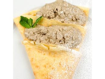 Pancake with halva and condensed milk