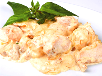 Chicken in cheese sauce with mushrooms