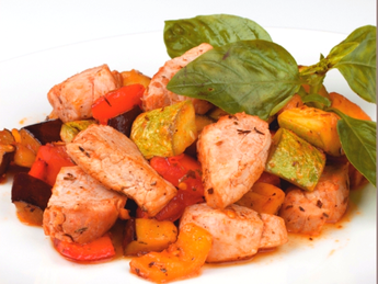 Pork with vegetables in spicy sauce