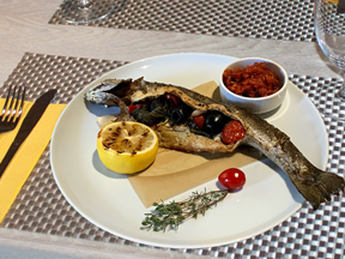 Rainbow trout with ratatouille and lemon