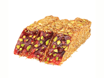 Pomegranate turkish delight with pistachios