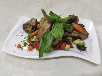 Braised rabbit with vegetables