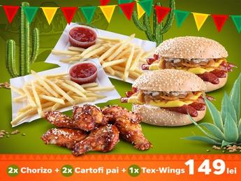 2x Chorizo + 2x Cartofi Pai + Tex Wings