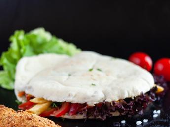Pita with schnitzel