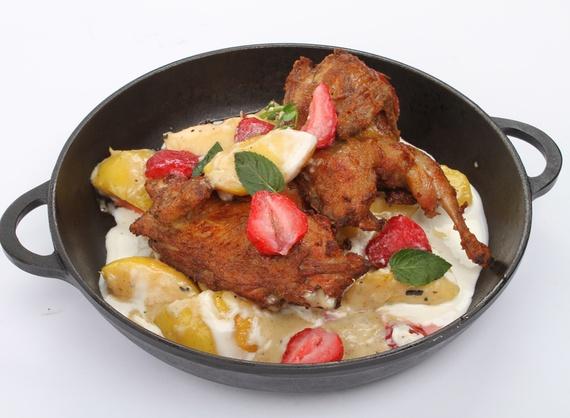 Quail in frying pan