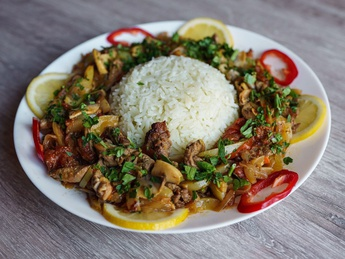 Saute of veal with mushrooms