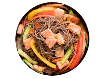 Soba with salmon