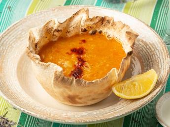 Lentil soup with focaccia