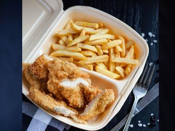 Chicken schnitzel with french fries