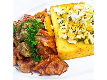 Pork stew and polenta