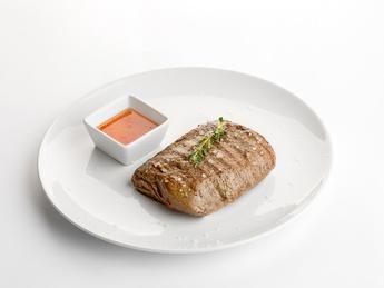 Pork steak with vegetable sauté