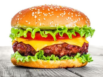 Cheeseburger with beef and pork