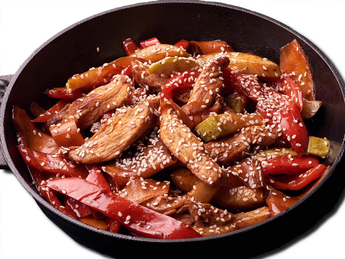 Chicken fillet with vegetables in sweet and sour sau