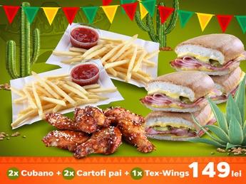 2x Cubano + 2x Cartofi Pai + Tex Wings