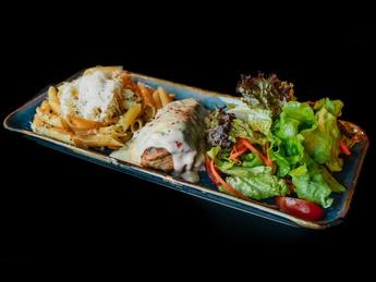 Chicken steak pasta in creamy sauce and salad
